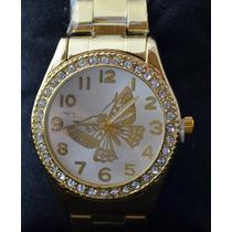 Relógio Dourado Com Strass E Caixa Estampa De Borboleta