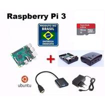 Kit Raspberry Pi 3 Pi3 Completo+fonte+sd16+case+convhdmi Vga