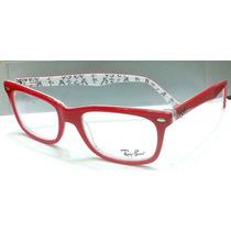 Armação Óculos Grau Modelo Rb5228 Vermelho E Branco Logos