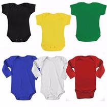 Body Liso Kit C/ 10 Bebê Diversas Cores Atacado Algodão