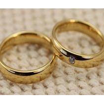 Par De Aliança Aço Inox 4mm Dourada Folheada Ouro Casamento