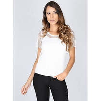 Blusa Rendada Com Forro Feminina Angel Seven- Branco