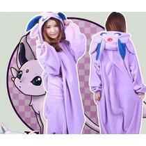 Pijama Adulto Macacão Pokemon Espeon Desenho Com Capuz