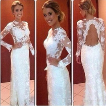 Vestido Longo Renda Festa Tule Madrinha Casamento Formatura