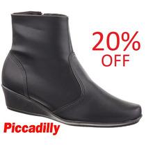 20% Off Bota Piccadilly Conforto Cano Curto 143017 - Preto