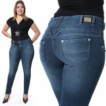 Calça Feminina Plus Size Azul Escu Até Tamanho 56 Skinny 795