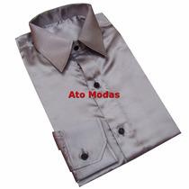 Camisa Social Masculina Seda/cetim Cinza/prata