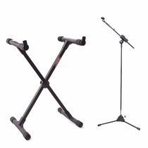 Estante Suporte P/ Teclado Musical + Pedestal Microfone Ibox