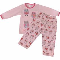 Pijama Longo Infantil De Meia Malha Para Menina Corujinhas