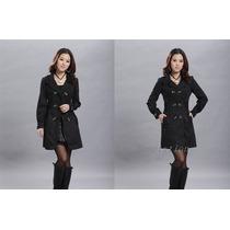 Sobretudo Feminino Trench Coat Casaco Slim Fit Importado