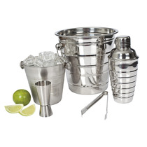 Kit Barman Inox - Coqueteleira, Dosador, Balde, Pegador Gelo