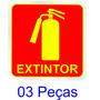 Placa Adesivo Sinalização Fotoluminescente Extintor 03 Pçs