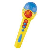Microfone Pop Star Infantil Colorido Com Som E Luz Dm Toys