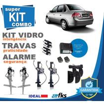 Kit Vidro Elétrico Corsa Classic 2012 4 Portas+alarme+travas