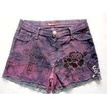 Short Jeans Feminino 42 Lycra Cintura Alta Customizado Renda