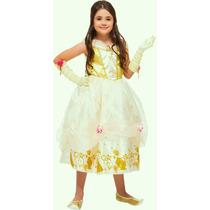 Vestido Fantasia Princesa Bela (bela E A Fera) Luxo Infantil