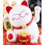 Gato Da Sorte Maneki Neko Branco Japão Japones China Lindo !