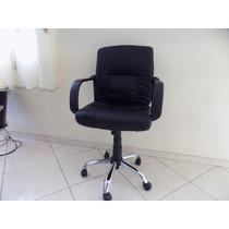 Cadeira Office Home Diretor Em Couro Sintetico Preta Cromada