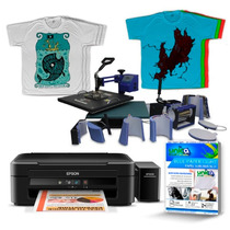 Ub 10 - Kit Prensa 8x1 + Impressora + Tintas + Camisetas