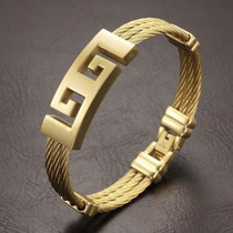 Pulseira Bracelete Masculino Aço Inox Banhado A Ouro 18k