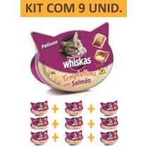 Petisco Gato Whiskas Templations Salmao - Kit Com 9 Unidades