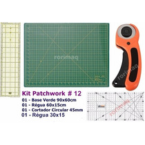 Kit Base De Corte + Régua + Cortador Patchwork Scrapbook #12