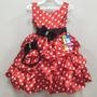 Vestido De Festa Infantil Vermelho, Aniversário,poá,minnie