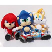Sonic - Knuckles - Tails Kit Com 3 Pelúcias Frete Grátis