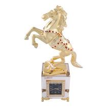 Cavalo Figurado Com Relógio Cristal