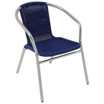 Cadeira Poltrona Mor Rattan Azul Para Jardim Em Alumínio