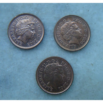 Inglaterra One Penny 3 Moedas 2000, 2001, 2003 - 20mm