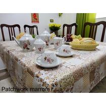 Toalha De Mesa Retangular Patchwork 2,20m X 1,48m 6 Cadeiras