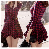 Vestido Loose Casual Manga Comprida Básica Vestido Com Cinto