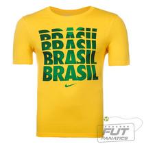 Camiseta Nike Brasil Core Type Amarelo - Futfanatics