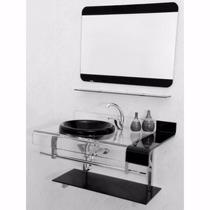 Gabinete Vidro + Espelheira - Preto - Estilo Chopin 90 Cm