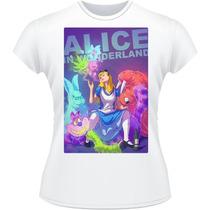 Baby Look Alice In Wonderland Camiseta Camisa Feminina