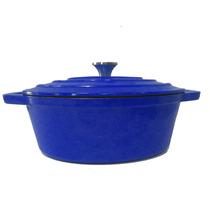 Panela Caçarola Ferro Fundido Esmaltada Oval Azul Masterchef