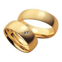 Par De Aliança Em Ouro 18 Klts 750 Com Diamantes Na Feminina