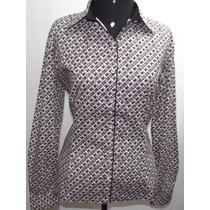 Camisa Blusa Feminina Manga Longa Em Tricoline Estampada