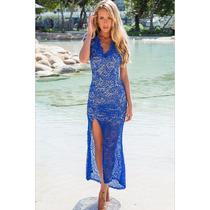 Vestido Longo Azul Royal - Fenda E Renda - Promoção