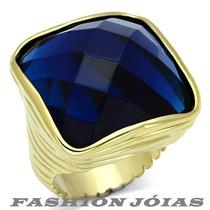 Anel Quadrado Azul Safira Pedra Natural Folheado A Ouro 18k