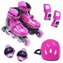 Kit Roller - Patins Inline Com Proteções - Rosa P: 30-33