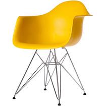 Cadeira Eames Dar Base Em Aço Inox Amarela - Bbd318