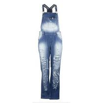 Jardineira Jeans Fact Rasgada Macacão Estonada Fashion