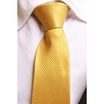 Gravata Semi Slim Trabalhada Listrada Com Nó - Dourado Ouro