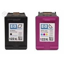 Kit Cartuchos Hp 122 Preto E Color Frete Grátis + Tintas