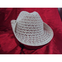 Chapéu De Praia Branco Cowboy Feminino Cowgirl Rodeio