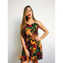 Vestido Estampado Viscose Lindo Moda Panicat Verão 2017