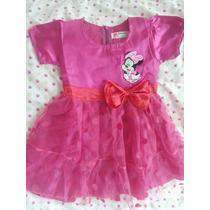 Vestido Saia Tule Festa Rosa Minnie - Infantil