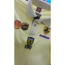 Camisa Polo Masculina Ferrari Gola Dupla Amarela